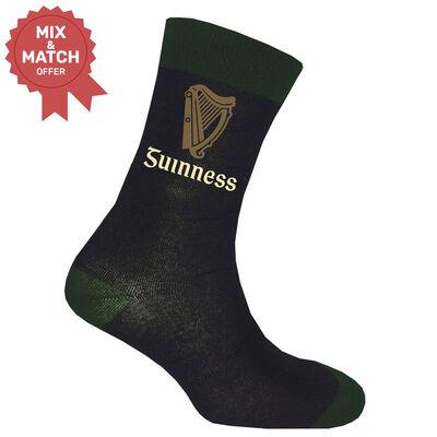 Black Guinness Socks With Bottle Green Trim  And Label Harp Design