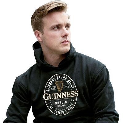 Guinness Kapuzenpullover mit großem Brewed In Dublin Label  Farbe: schwarz