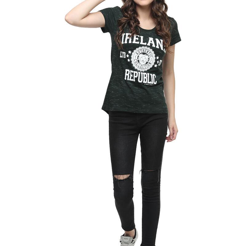 Ladies T-Shirt With Ireland Republic LTD EDT Varsity Shield  Forest Green Colour