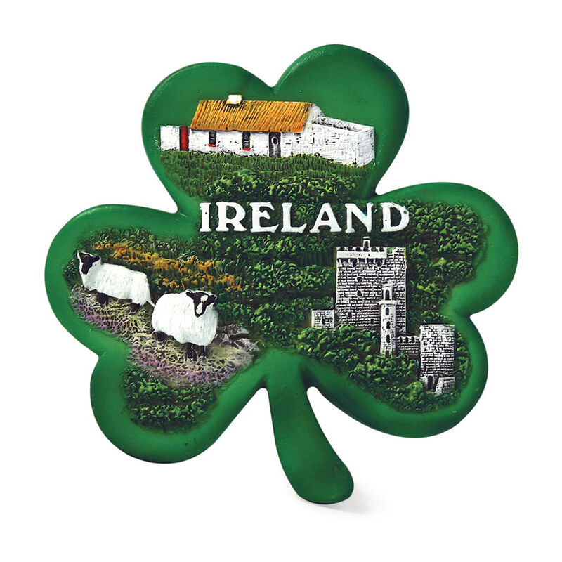 Green Shamrock Resin Magnet With Cottage  Castle and Sheep