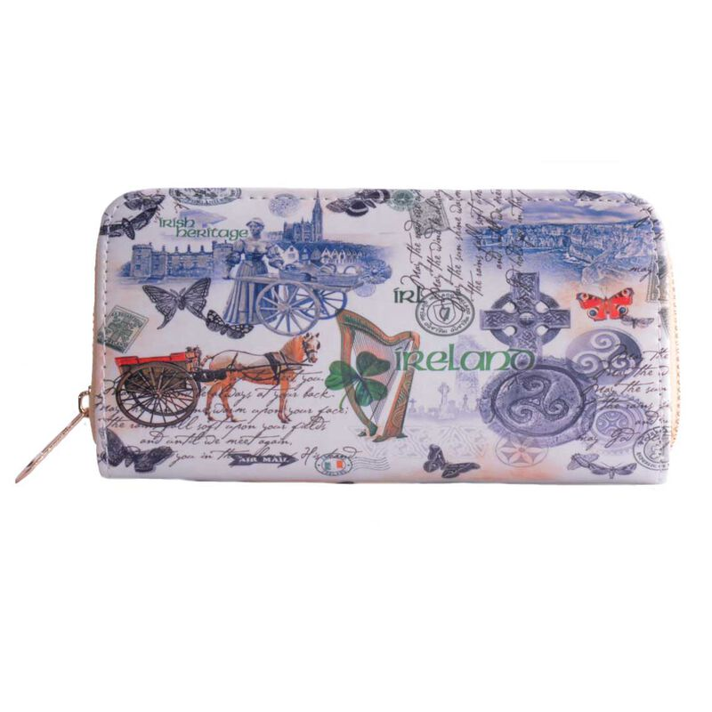 White Ladies Purse with Irish Landmarks and Icons and Irish History Design
