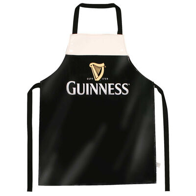 Guinness Designed Livery PVC Apron With Harp Design, Black Colour