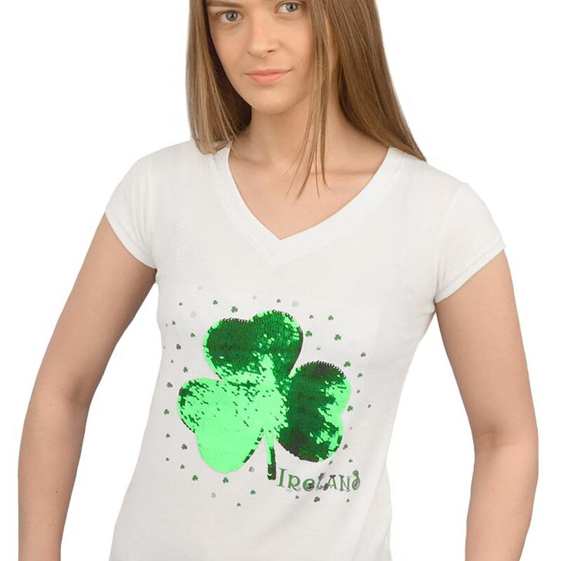 Shamrock Print Ladies V-Neck T-Shirt With Sequins  Green Colour