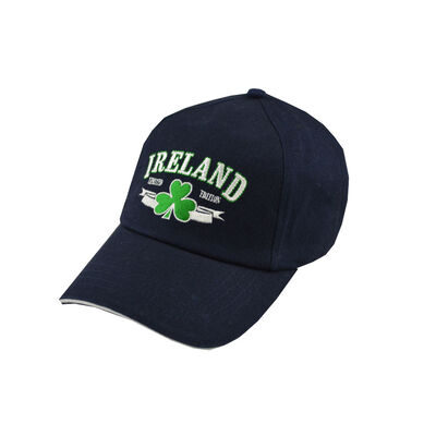 Baseball Cap With Embroidered Ireland Limited Edition Print And Shamrock  Navy