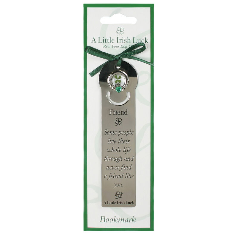 Four Leaf Clover Bookmark With Friend Saying