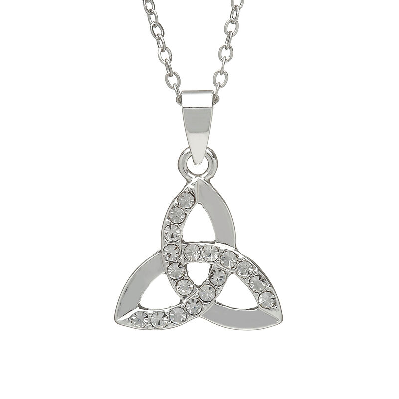Silver Plated Trinity Knot Pendant With Cubic Zirconia Design