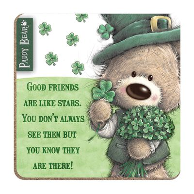Paddy Bear Irish Designed Coaster 'Good Friends Are Like Stars' Text