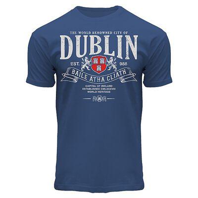 Superior Dublin Baile Atha Cliath Design T-Shirt  Navy Colour