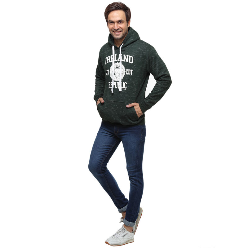 Pullover Hoodie With Ireland Republic Print  Forest Green Colour With White Design