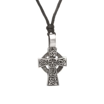 Pewter Style Green Legend Celtic Cross Pendant On An Adjustable Woven Chain