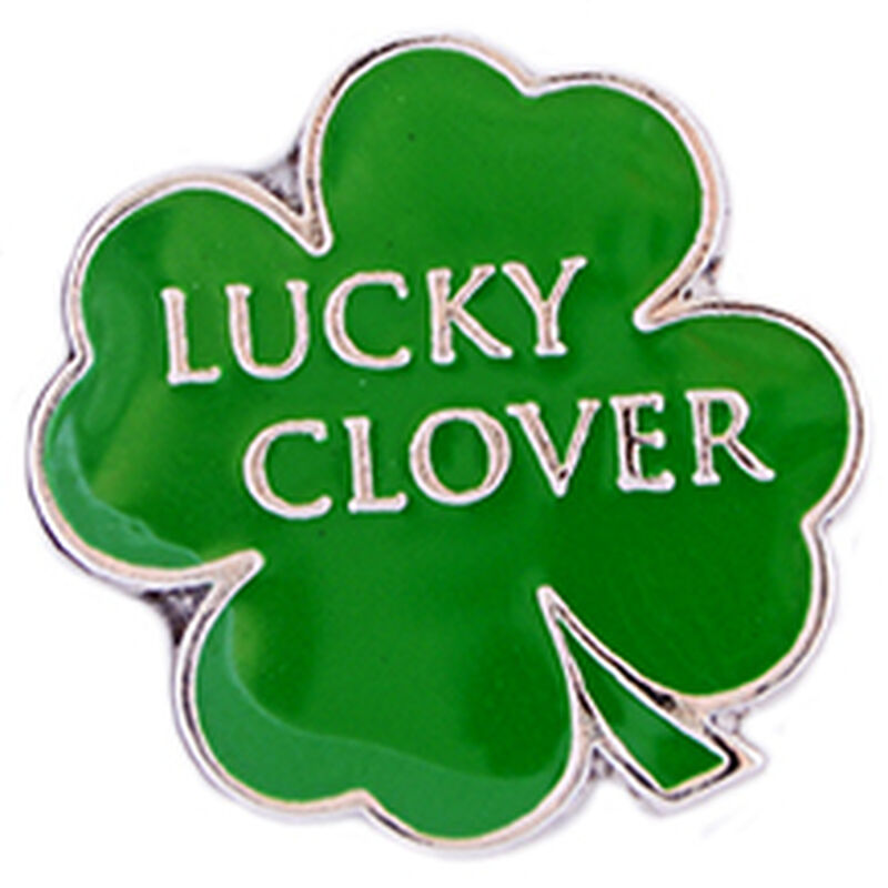 Green Shamrock Lapel Pin With Lucky Clover Print And Gold Trim