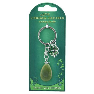 Good Luck Green Connemara Marble Keyring With Shamrock Design