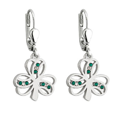Rhodium Plated Shamrock Drop Earrings With  Green And White Crystals