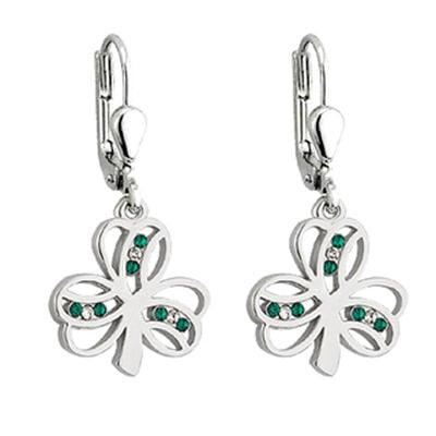 Rhodinierte Shamrock Ohrhänger mit grünen und weißen Kristallen