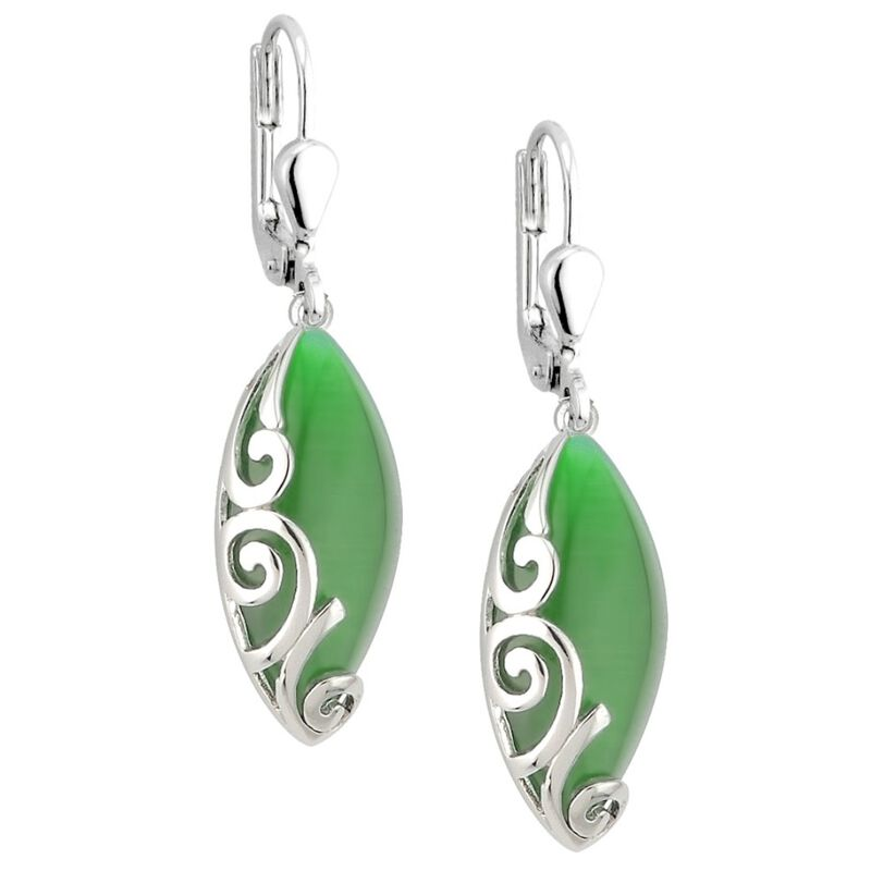 Elegant Green Cat Eye Oval Stone Celtic Designed Drop Earrings
