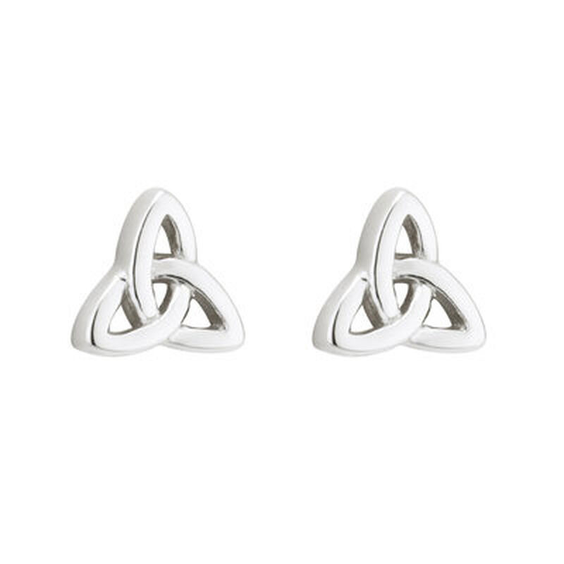 Hallmarked Sterling Silver Elegant Trinity Knot Design Earrings