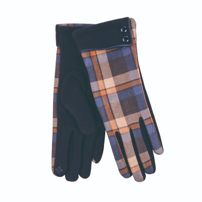 Tartan Traditions Ladies Gloves With Two Buttons  Navy Colour