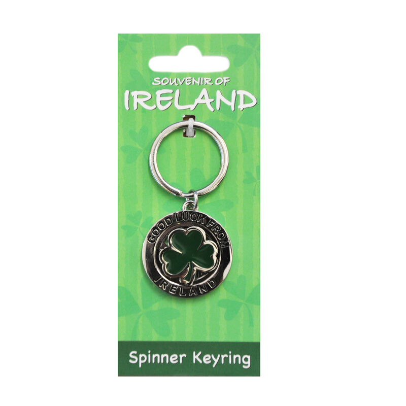 Metal Keychain With Green Lucky Spinning Shamrock