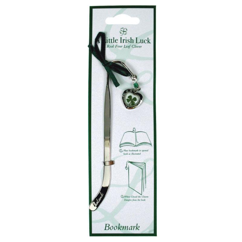 Four Leaf Clover Bookmark With Heart Charm
