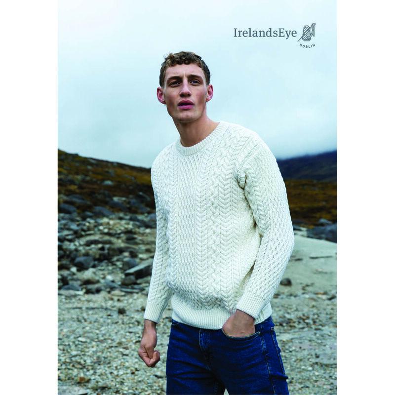 Cuileann Merino Wool Aran Crew Neck Sweater, Natural Colour