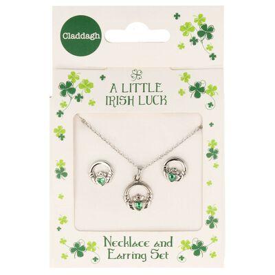 A Little Irish Luck Green Diamante Studded Claddagh Jewellery Set