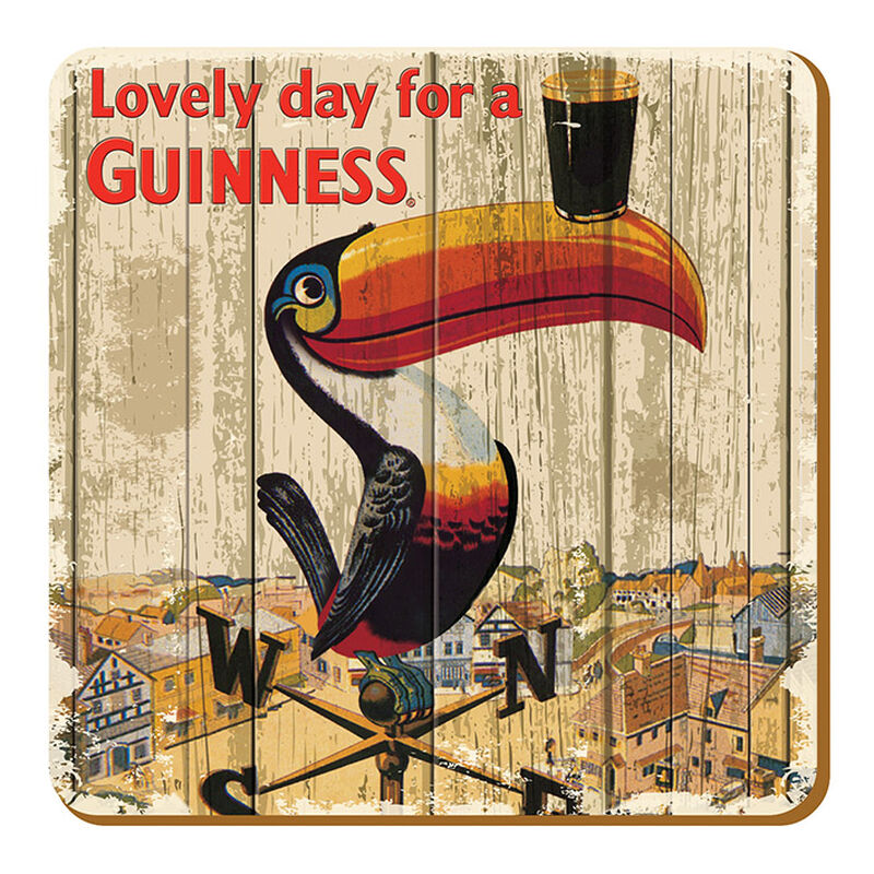 Nostalgic Guinness Coaster With Toucan On Weathervane Design