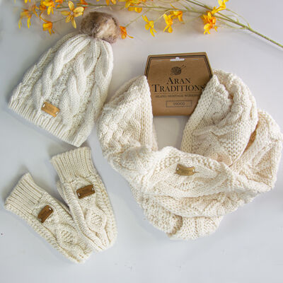 Aran Traditions Knitted Snood, Hat & Mittens Gift Set, Cream Coloured