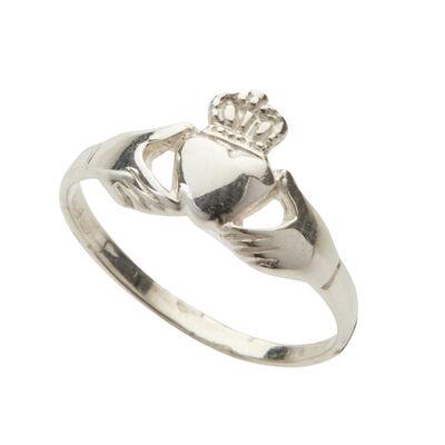 Gepunzter Sterlingsilber-Claddagh-Ring in Kästchen