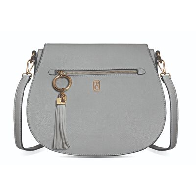 Tipperary Crystal White Saddle Style Satchel With Gold Hardware