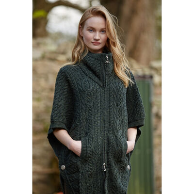 Double Collar Aran Cape With Celtic Knot Zipper Green