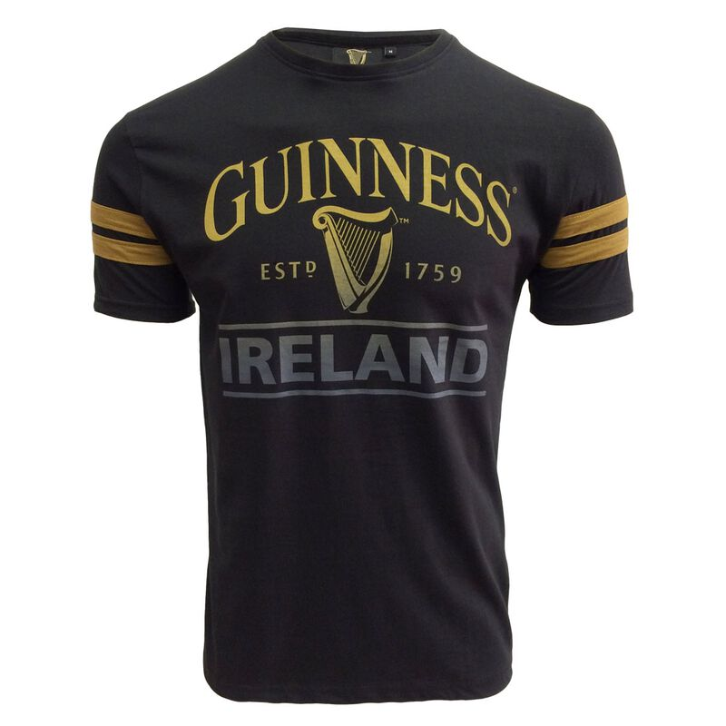 Guinness T-Shirt With Harp And Ireland Text  Black Colour