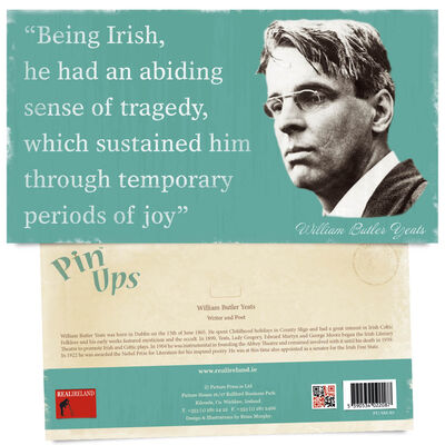 Pin Up Showing The Portrait of Famous Writer and Poet William Butler Yeats
