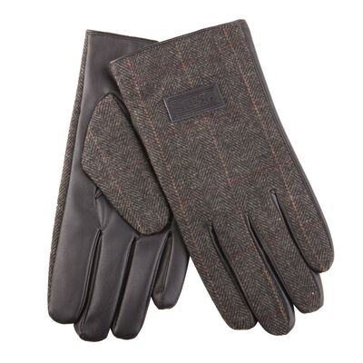 Heritage Traditions Mens Tweed Gloves  Grey Herringbone Design