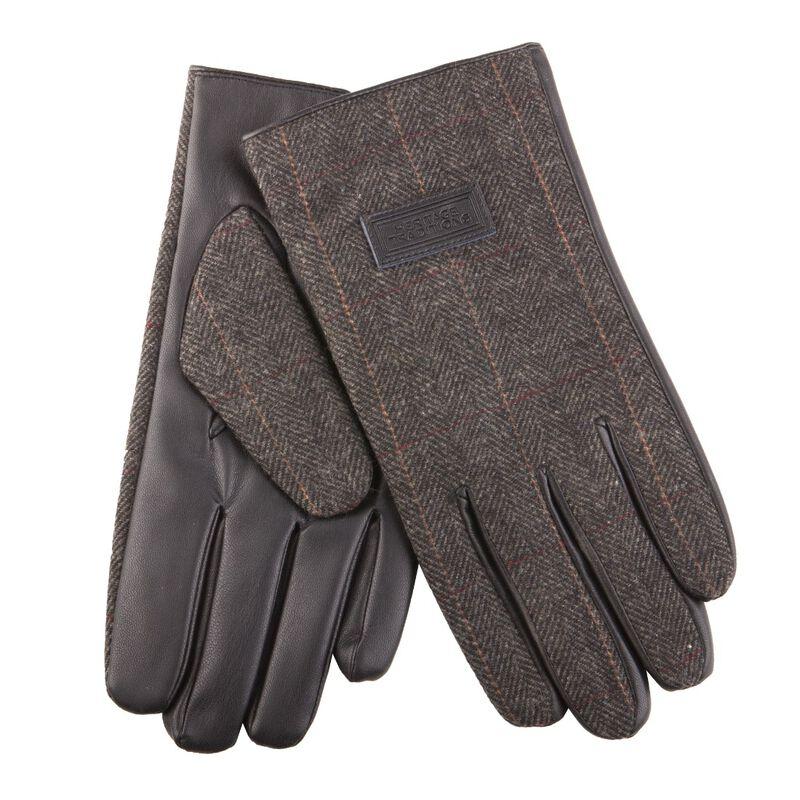 Heritage Traditions Mens Tweed Gloves  Grey Herringbone Design