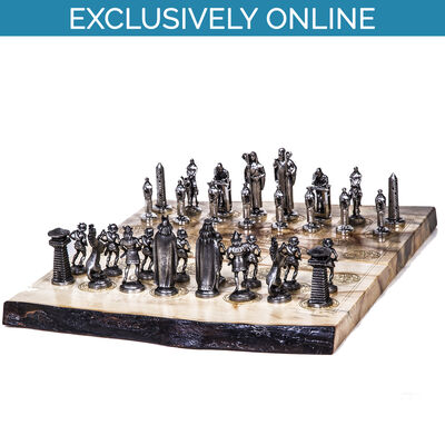 Chess Board with Mullingar Pewter Pieces in Presentation Box