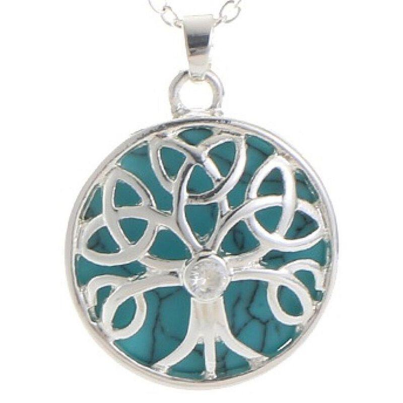 Mystic Ireland Turquoise Semi Precious Stone Celtic Energy Pendant