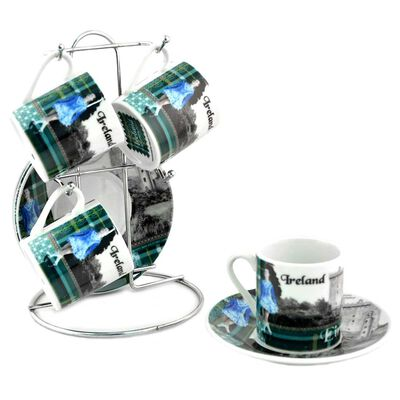 Ireland Designed Set Of Four Coffee Cup and Saucer  Comes With Stand