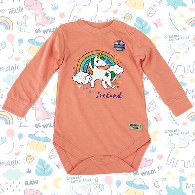 Ireland Baby Romper Unicorn Rainbow Design, Nude Colour
