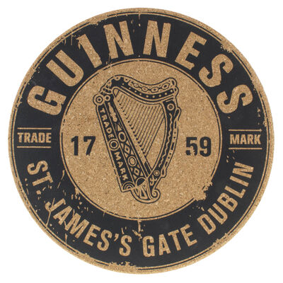 Guinness Cork Placemat With 1759 St. James's Gate Harp Design