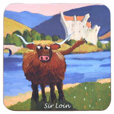 "Irish Coaster With A Ram In Front Of A Castle With Text ""Sir Loin"""