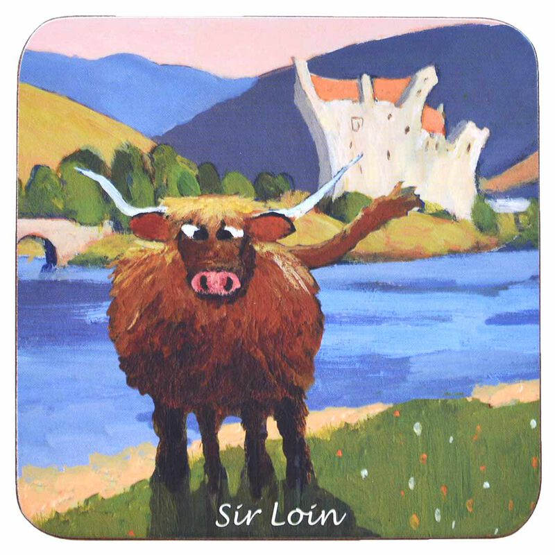 """Irish Coaster With A Ram In Front Of A Castle With Text """"Sir Loin"""""""
