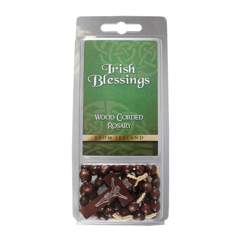 Wood Corded Rosary Beads Comes With Irish Blessing