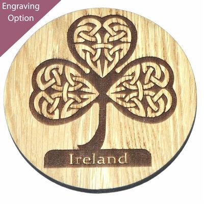 Irish Wooden Designed Coaster With Celtic Ireland Shamrock Design