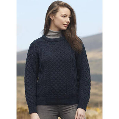 100% Merino Wool Crew Neck Sweater, Blackwatch Colour
