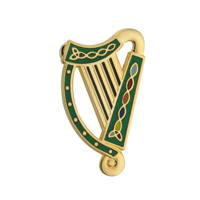 Vergoldete Tara-Brosche mit Harfe