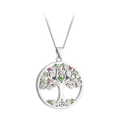 Solvar Rhodium Plated Tree Of Life Pendant Encrusted With Coloured Crystals