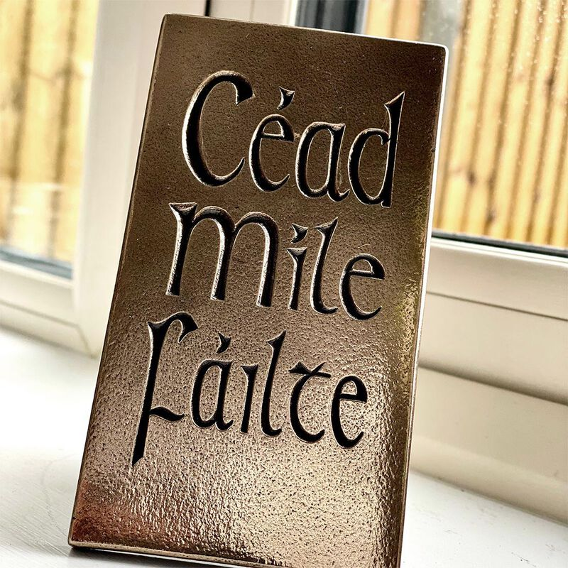 Céad Míle Fáilte Bronze Carving In Presentation Box (15cm X 23cm)