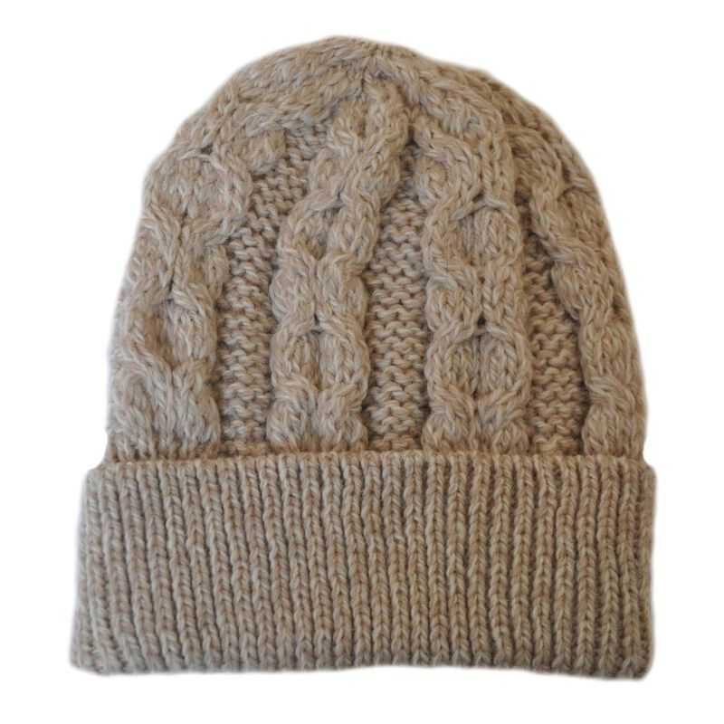 100% Merino Wool Aran Crafts Honeycomb Hat Parsnip
