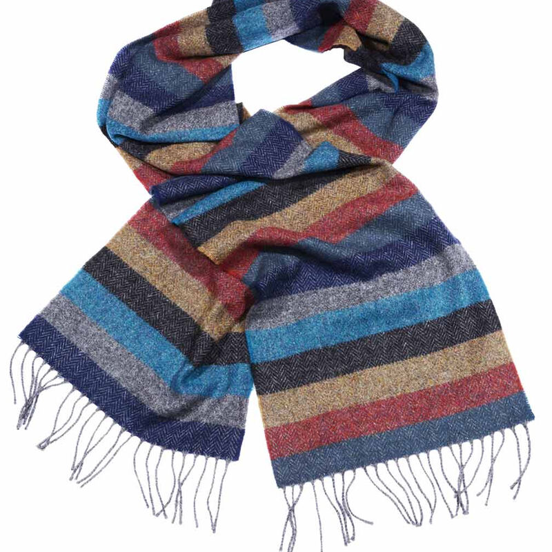 Multicolour Standard Fringed Lambswool Scarf with Striped Herringbone Tweed Design