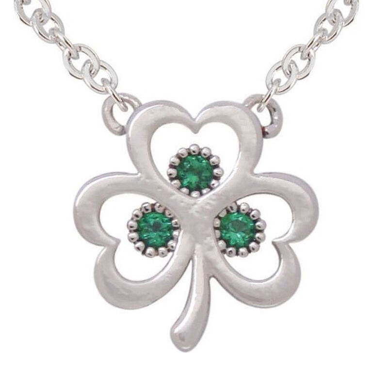 Silver Plated Open Shamrock Pendant With Green Cubic Zirconia Stones